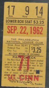 September 22,1962 Cincinnati Reds @ Philadelphia Phillies Ticket Stub J Callison