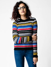 New ex ASOS Multi Coloured Stripe Jumper in Rib with High Neck RRP £24 Sizs 4-18
