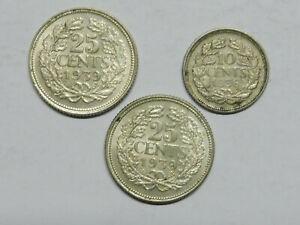 Y346     NIEDERLANDE Lot 2x 25 + 1x 10 Cent Silber