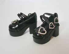 Black Mary Jane Hearts SHOES heels punk 1/4 BJD Girl MSD