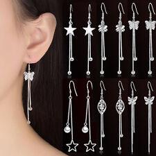 925 Sterling Silver Butterfly Flowers Crystal Tassels Dangle Party Earrings Gift