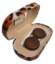 Orange Leopard Print Contact Lens Case -Tweezer - Mirror - Lenses Storage