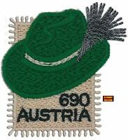 Austria 2018 Styrian Hat Unique Unusual Embroidered Embroidery Cloth Stamp