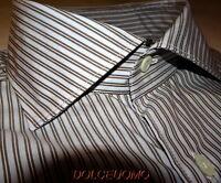 NEW $365 CORNELIANI ITALY 17 Collar 36 SL 43 EU DRESS SHIRT Mocha Blue stripes