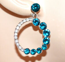 ORECCHINI donna cerchi argento strass cristalli azzurri pendenti earrings G49