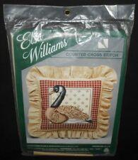 "Vtg Michael LeClair CANADA GOOSE PILLOW Cross Stitch Kit Elsa Williams Wool 14"""