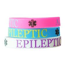 EPILEPTIC ALERT MEDICAL wristband silicone bracelet bangle gift AWARENESS