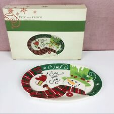 Fitz And Floyd Holly Hat Snowman Serving Sentiment Tray Dish Holiday Christmas