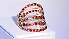 Stunning Red & White Diamond ring 9ct Gold size 8 (P-Q)