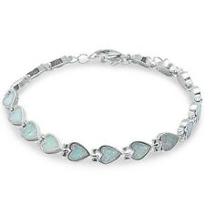 White Fire Opal Heart .925 Sterling Silver Bracelet