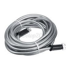 255075100ft Stainless Steel Metal Garden Hose Water Tube Flexible