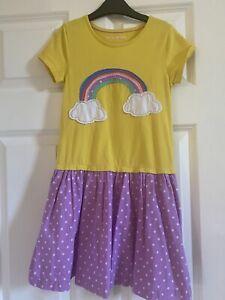 Mini Boden Rainbow Dress Age 6-7 Years Short Sleeved T Shirt Dress