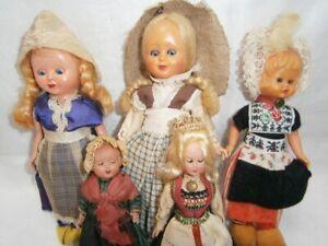 5 VINTAGE HARD PLASTIC GIRL DOLLS c 1950's IN ORIGINAL COSTUMES ( 2 MINIATURES)