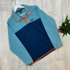 Patagonia Baby Blue Orange Colour Block Trim Soft Fleece Sweater Size Medium