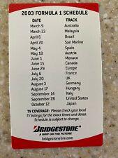 2003 Bridgestone Formula 1 and CART Indy Cars racing pocket schedule