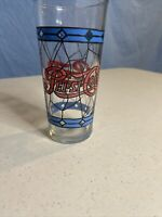 Vintage 1970's  Pepsi Cola Glass Tiffany Style Stained Glass  Red /Blue