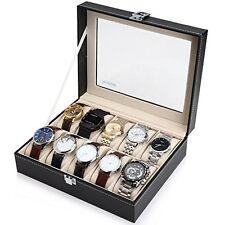 Black Leather 10 Watch Box Case Organizer Display Storage Tray for Men & Women