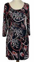 Stella Morgan Womens Black/Red 3/4 Sleeve Dress Size M