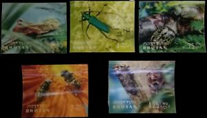 BHUTAN 3-D, 5 Different Insects-Plastic Surfaced Stamps-MNH