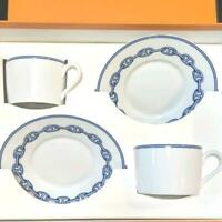 HERMES Tea Cup Saucer Chaine D'Ancre Blue Tableware 2 set Porcelain Coffee New