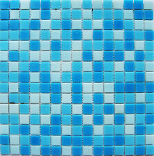 1 Sheet 327x327mm Blue Mixed Glass Mosaic Tiles for Swimming Pool, Spa, Bathroom