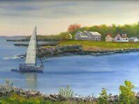 Sailboat Harbor Inlet Nautical Seascape original 9x12 oil rustic art painting