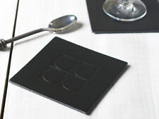 Set of 4 BLACK SQUARE EMBOSSED Leatherboard COASTERS