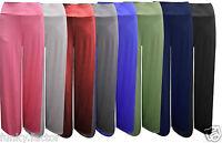Ladies Womens Celeb Inspired Plain Wide Leg Palazzo Flared Trouser Pants UK 8-26