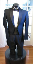 MEN VINTAGE BLACK SWIRL TAIL TUXEDO SHAWL LAPEL RAFFINATI ROBERT WAGNER 4PC 44XL
