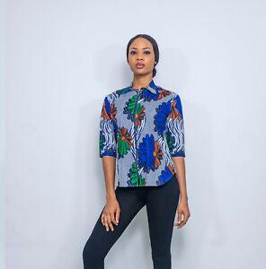 Pepperfruit Women Colourful African Print 3/4 Sleeve Zip Front Shirt Top Blouse