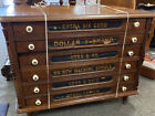 Antique Kerr & Co. Advertising Six Drawer Country Store Display Spool Cabinet