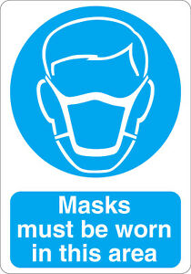 Masks must be worn in this area mandatory safety sign sticker A5 size