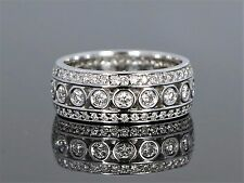 14K White Gold 1.60ct Diamond Pave Bezel Set Eternity 7.35mm Wedding Band Ring 6