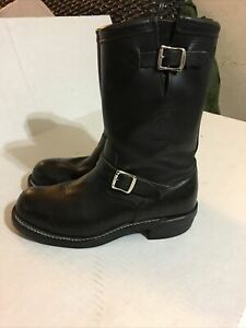 Chippewa Leather Engineer Boots Notation Size 9.5 D Black Steel Toe Biker