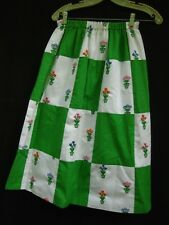 Mid-20th Century Mr. Hank Skirt~Patchwork~Embroider ed Flowers in Flower Pots~Xs