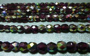 6mm amethyst vitrial faceted Czech glass beads, 6 st 70/st, New Old Stock BIN040