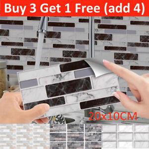9pcs Self-adhesive 3D Brick Tiles Wall Stickers Kitchen Bathroom Wall Art Decor