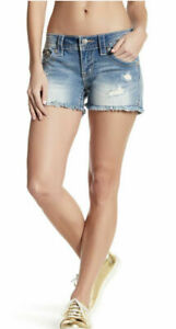 Miss Me Women's NWT Distressed Cut Off Shorts Light Wash Size 28