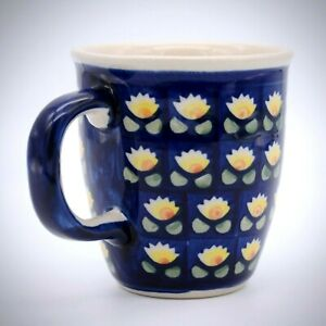 Manufaktura Bolestawcu Polish Coffee Mug Stoneware Handpainted 10oz Blue Yellow