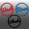 Large Wash, Rinse, Wheels Circle Car Detailing/Valet Vinyl Bucket Decal Stickers