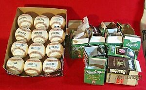 Lot of (12) Rawlings Official Major League Baseballs, OPEN, 6 A.L., 5 N.L., 1ML