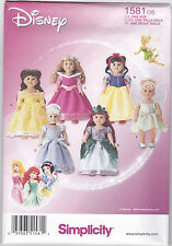 "Simplicity Disney 18"" Doll Costumes Pattern 1581"