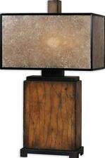 Contemporary RUSTIC WOOD Geometric Table Lamp MICA SHADE Brown Black Modern