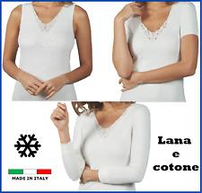 Maglia intima donna manica lunga corta canotta spalla larga lana e cotone pizzo