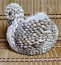"Vtg. Shell COVERED Swan ""planter/trinket holder"" google eyes, see all pics!"