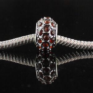 10pcs Czech Crystal Spacer Big Hole Silver Charm Beads Fit European Bracelet