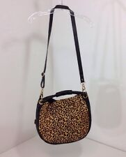 VINCE CAMUTO WOMEN'S HOBO LEATHER PURSE BLACK/ANIMAL FUR