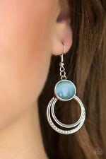 Paparazzi jewelry silver hoops blue moonstone white rhinestone earrings