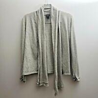 Clara Sun Woo Gray Open Front Cardigan Sz Medium Asymmetric Hem Sweater