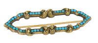 Antique Victorian 14k Yellow Gold Persian Turquoise Open Marquise Brooch Pin